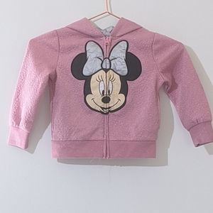 Disney Minnie Mouse Pink Full Zip Hoodie Size 3T